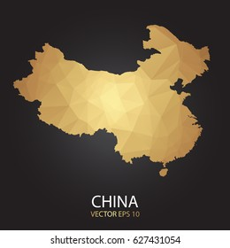 Low poly map of China. Gold Polygonal shape on black background. Vector illustration eps 10.