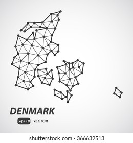 Low Poly Map of Denmark isolated