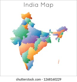 Low Poly map of India. India geometric polygonal, mosaic style map.