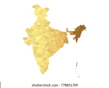 Low poly map of India. Gold Polygon. Vector illustration eps 10.