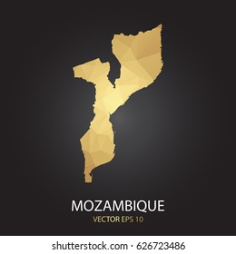 Low poly map of Mozambique. Gold Polygonal shape on black background. Vector illustration eps 10.