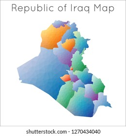 Low Poly map of Republic of Iraq. Republic of Iraq geometric polygonal, mosaic style map.