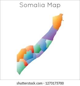 Low Poly map of Somalia. Somalia geometric polygonal, mosaic style map.
