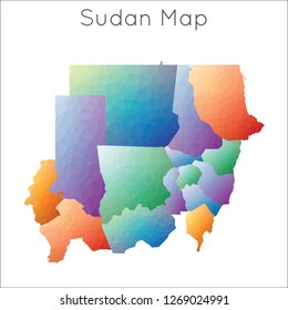 Low Poly map of Sudan. Sudan geometric polygonal, mosaic style map.