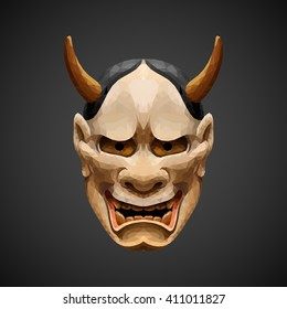 low poly mask Noh theater - Hannya. Abstract polygonal illustration.