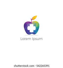 Low poly Medical and pharmacy logo design with cross in apple. healthy apple vector, Colorful Medical apple plus company logo.