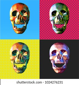 Low poly modern art skull in front view open mouth colorful 4 popart style