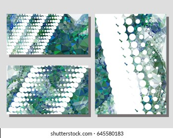 Low poly mosaic background set. Template design, list, front page, brochure layout, banner, idea, cover, print, flyer, book, blank, card, ad, sign, sheet. Copy space. Vector clip art.