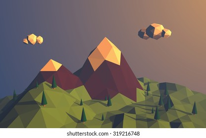 Low poly mountains landscape vector background. Polygonal shapes peaks with snow on top and trees around. Sunset wallpaper. Eps10 vector illustration.