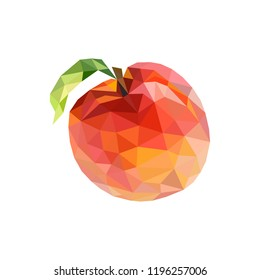 Low poly peach. Polygonal illustration. Vector isolated on white background. Geometric polygonal fruit, triangles. Triangle peach. Triangulation of a ripe peach.