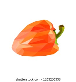 Low poly pepper. Polygonal illustration. Vector isolated on white background. Geometric polygonal vegetables, triangles. Triangle paprik. Triangulation of a ripe pepper.