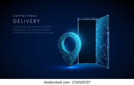 Low poly pin icon near house entrance. Contactless delivery concept. Epidemic measures during quarantine. Food delivery. 3d graphic Abstract geometric background. Vector illustration