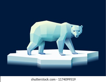 Low poly polar bear on an ice floe against a dark blue background, eps10 vector