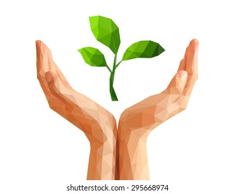 low poly polygon cupped hand that holds a living green plant seedling