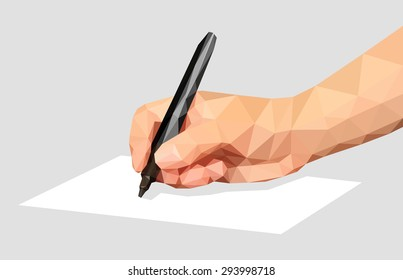 low poly polygon hand that writes a marker pen on a blank sheet
