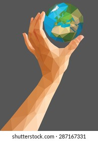 low poly polygon left hand holding a globe cartoon vertical orientation.