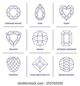 Low poly popular blueprint outline jewelry gems cuts infographics isolated on white background, vector illustration