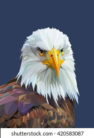 Low poly poster with eagle. Vector illustration.