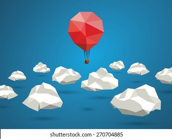 Low poly red balloon flying between polygonal clouds in the sky. Business concept for new projects or traveling. Eps10 vector illustration