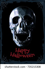 Low poly scary monochrome skull on dark background for halloween greeting