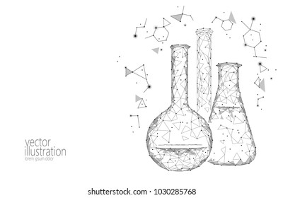 Low poly science chemical glass flasks. Magical equipment polygonal triangle gray white monochrome abstract research future technology business medicine concept vector illustration