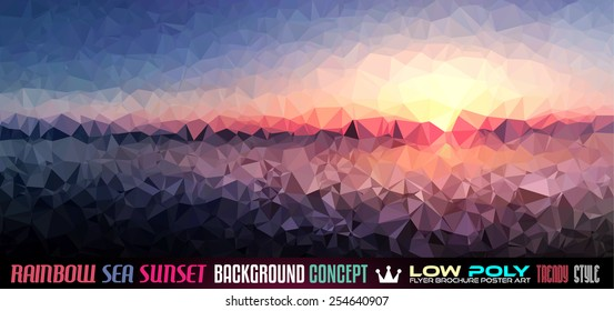 Low Poly Sea Sunset Art background for your polygonal flyer, stylish brochure, poster background and fresh applications.