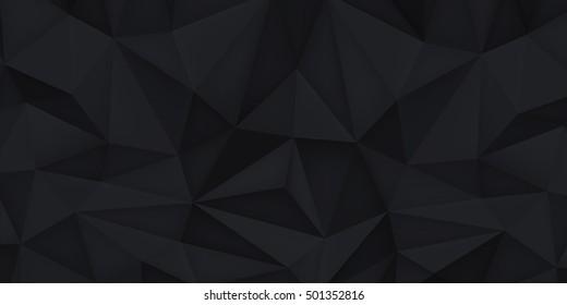 Low Poly Shapes Black Polygonal Background Illustration De Stock De