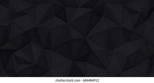 Low poly shapes, black polygonal background, dark crystals, triangles mosaic, creative origami wallpaper, templates vector design