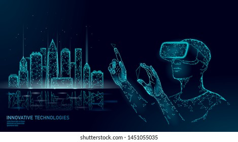 Low poly smart city intelligent building automation. VR helmet augmented reality visualize creation concept. Architecture urban cityscape technology sketch banner vector illustration