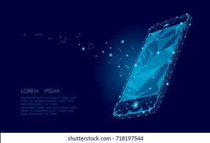 Low poly smartphone mobile touch screen display. Triangle polygonal geometric design connected dots starry sky. Modern futuristic banner template design. Vector illustration background