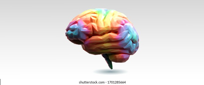 Low poly spectrum rainbow color brain with 3D shading style and wireframe illustration isolated on white background