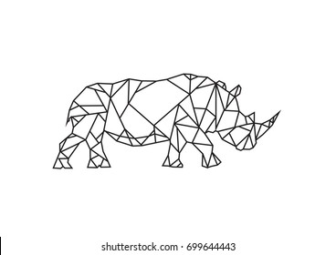 Low Poly Style art of  Rhinoceros. Editable Clip Art.