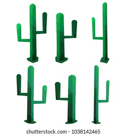 Low poly style cactus set