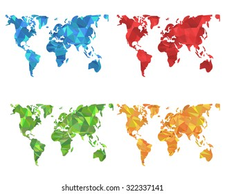 Low Poly Style Colorful World Map Set