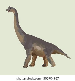 Low Poly style dinosaur brachiosaurus on isolated beige background.