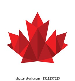 A low poly style graphic maple leaf made out of solid red polygons..