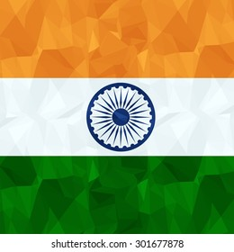 Low Poly Style India Flag Vector Illustration