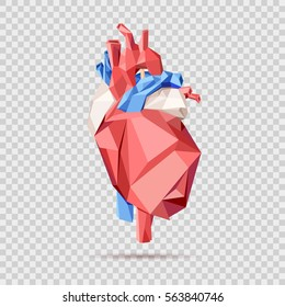 Low poly style isolated anatomical heart in red, blue and white colors on the overlay checkered background.  Vector illustration.