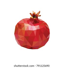 Low poly style. Pomegranate on white background. Fruits for labels, juices, postcards, banners. A beautiful pomegranate on a white background with an inscription. Illustration of a pomegranate