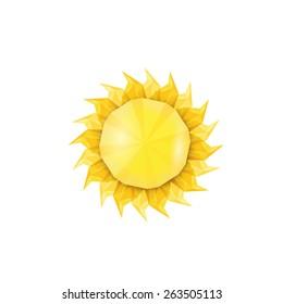 low poly style trendy Sun logo . Vector illustration
