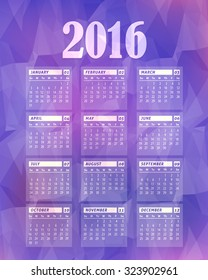 Low Poly Style Violet Background 2016 Full Calendar Template - Promotion Poster Vector Design, Week Starts Sunday