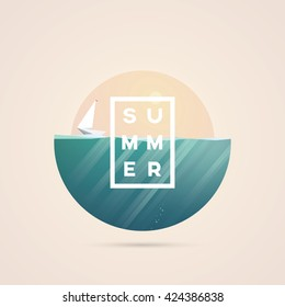 Low poly summer poster with yacht on the ocean. Holiday and recreation vector symbol.