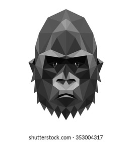 Low poly symmetrical vector illustration of sullen gorilla monkey, the symbol of forthcoming New Year.