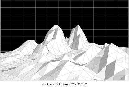 Low poly terrain on a black background with a grid