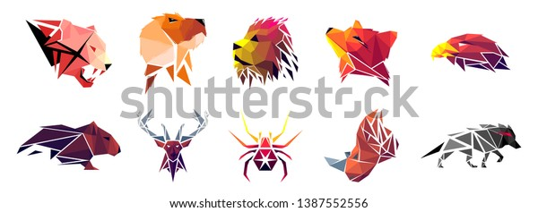 Low Poly Tiger Dog Lion Fox Stock Vector (Royalty Free