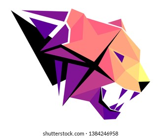 Low poly tiger. Geometric logo