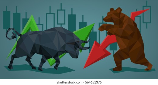 Low poly trade bull and bear.  Vector illustration in polygonal style. Financial graph background.