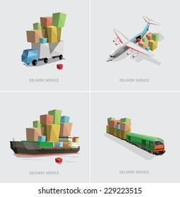 low poly transportation set vector illustration