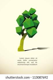 low poly tree 3d imitation . Vector illustration.