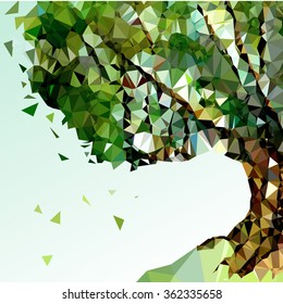 Low poly tree background. Stylized vector tree.